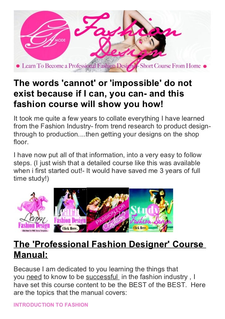 The secrets learn how to becoming a professional fashion designer sho…