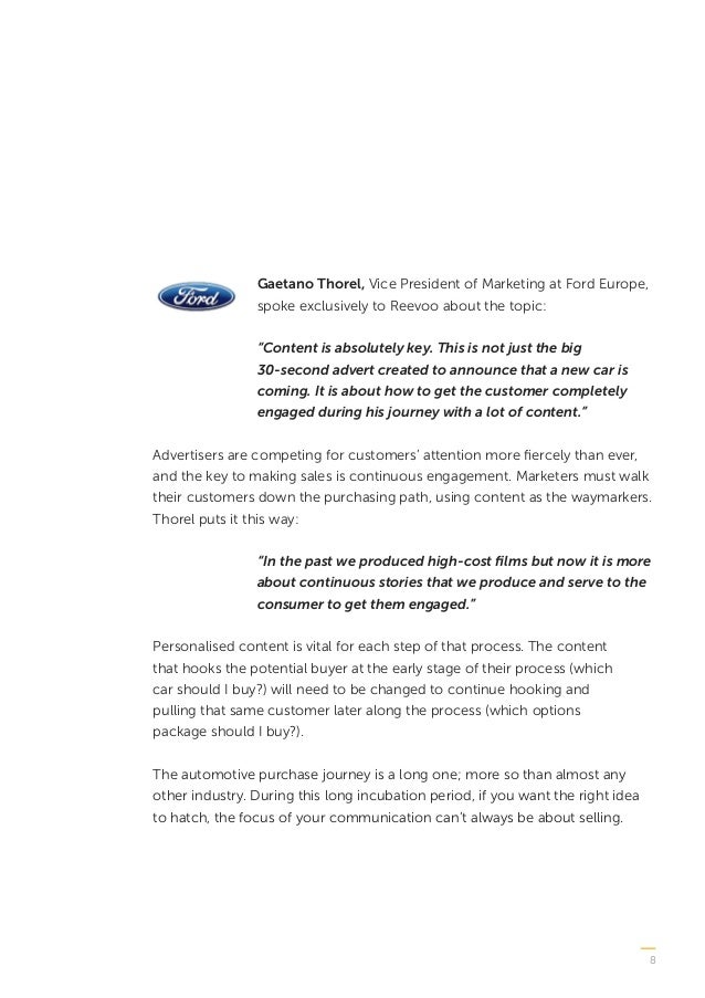 """8 Gaetano Thorel, Vice President of Marketing at Ford Europe, spoke exclusively to Reevoo about the topic: """"Content is abs..."""