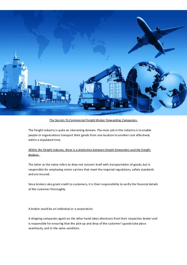 The Secrets To Commercial Freight Broker Forwarding Companies