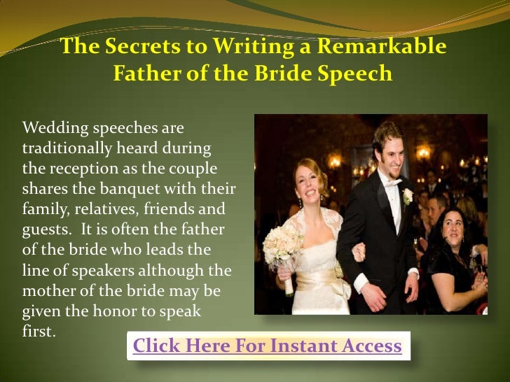 The Secrets To Writing A Remarkable Father Of The Bride Speech