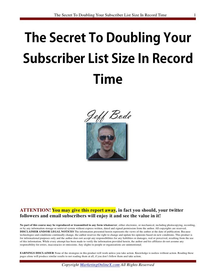 The Secret To Doubling Your Subscriber List Size In Record Time                                                           ...