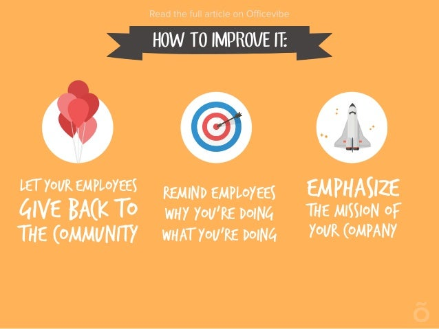 HOW TO IMPROVE IT: Let your employees give back to the community Remind employees why you're doing what you're doing Empha...