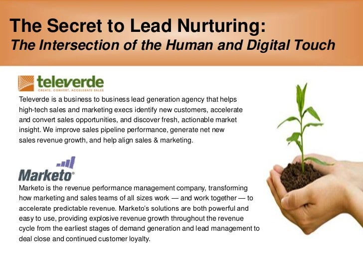 The Secret to Lead Nurturing:The Intersection of the Human and Digital Touch<br />Televerde is a business to business lead...