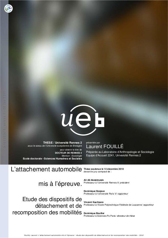 1THESE / Université Rennes 2sous le sceau de l'Université européenne de Bretagnepour obtenir le titre deDOCTEUR DE RENNES ...