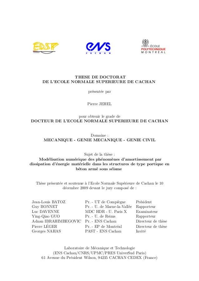 THESE DE DOCTORAT DE L'ECOLE NORMALE SUPERIEURE DE CACHAN pr´esent´ee par Pierre JEHEL pour obtenir le grade de DOCTEUR DE...