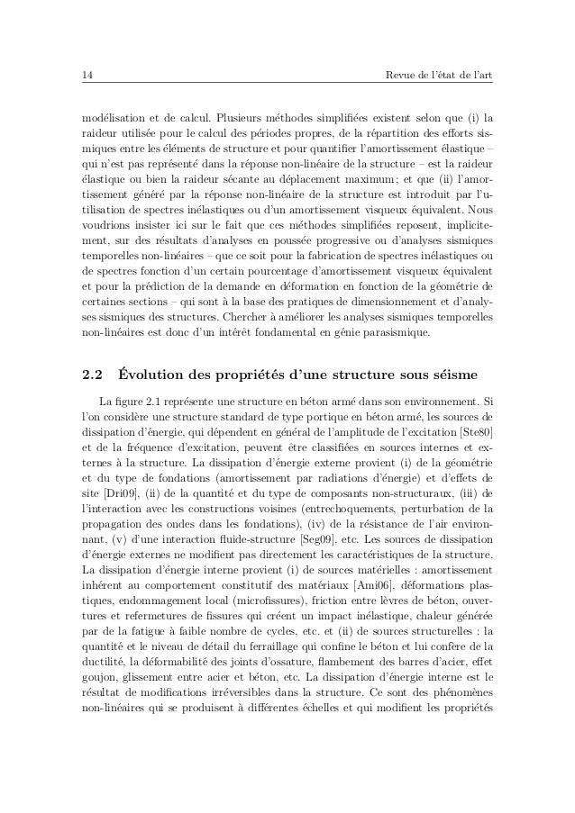18 Revue de l'´etat de l'art d'un mod`ele d'amortissement global forfaitaire d´epend du mod`ele structurel non- lin´eaire ...