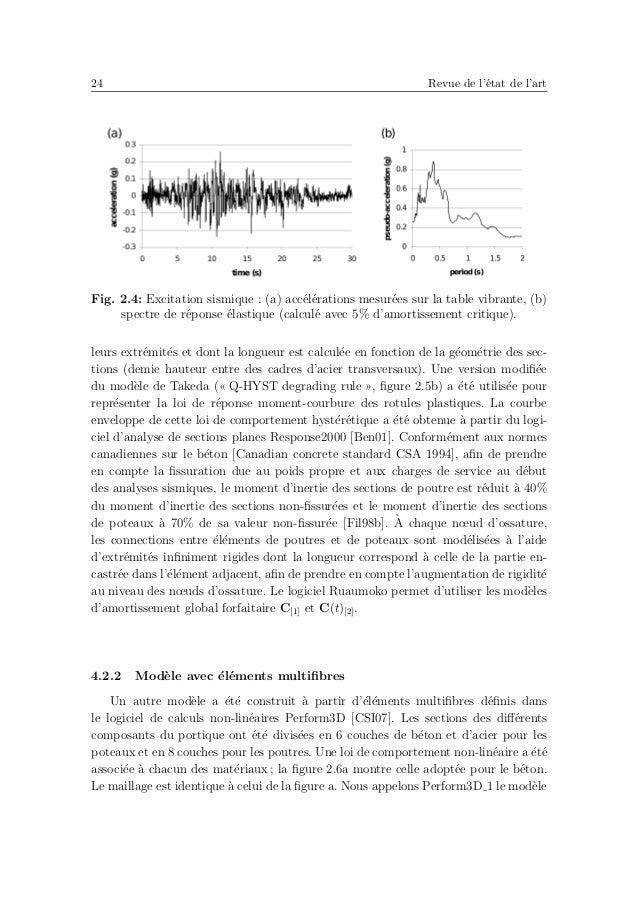 28 Revue de l'´etat de l'art Tab. 2.2: Analyses de la r´eponse sismique d'un portique en BA en utilisant diff´erents mod`el...