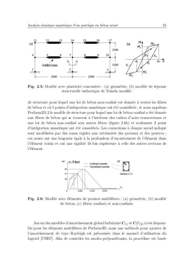 Analyse sismique num´erique d'un portique en b´eton arm´e 29 par la r´eglementation pour repr´esenter les effets de la fissu...