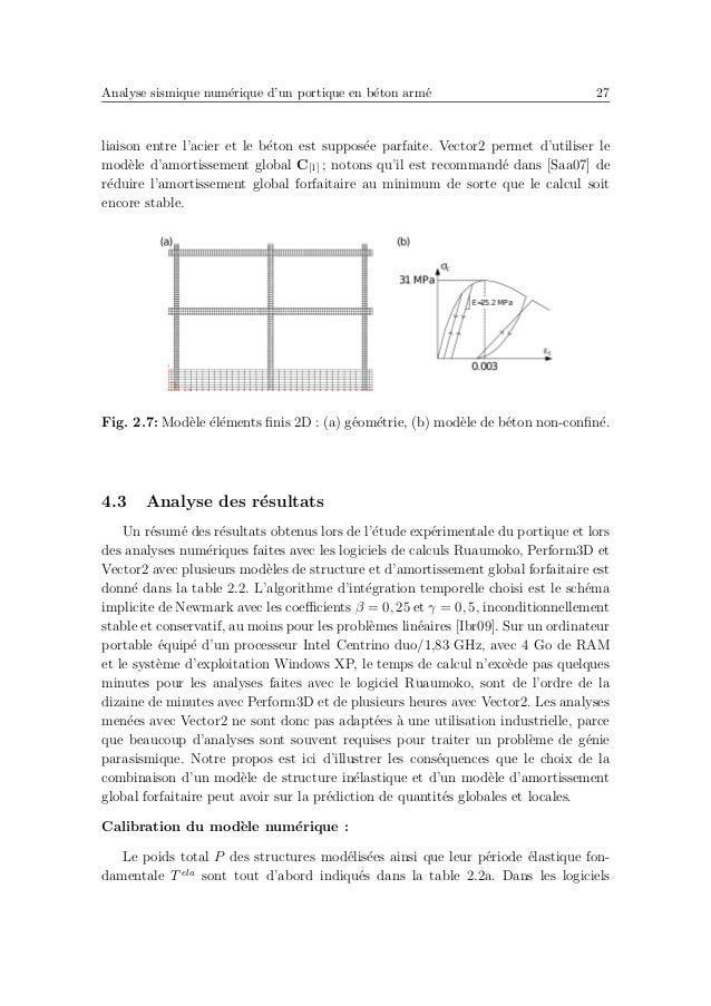 Analyse sismique num´erique d'un portique en b´eton arm´e 31 Fig. 2.8: ´Evolutions temporelles exp´erimentales et num´eriq...