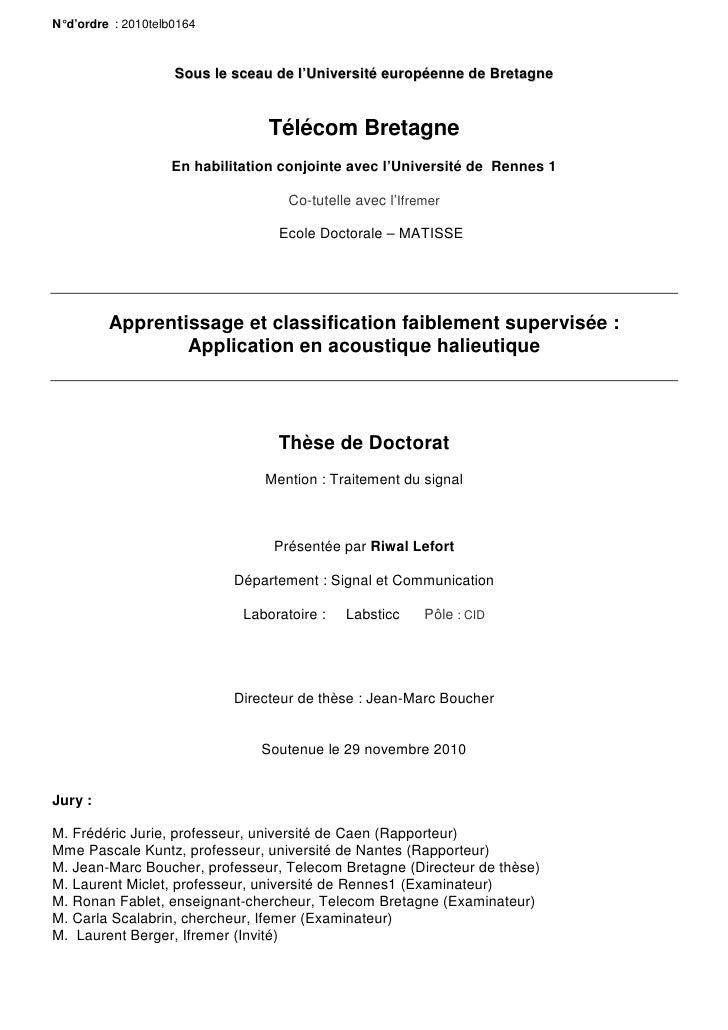 N° d'ordre : 2010telb0164                     Sous le sceau de l'Université européenne de Bretagne                        ...