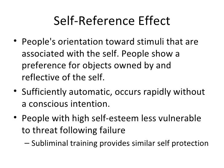Self Reference Effect