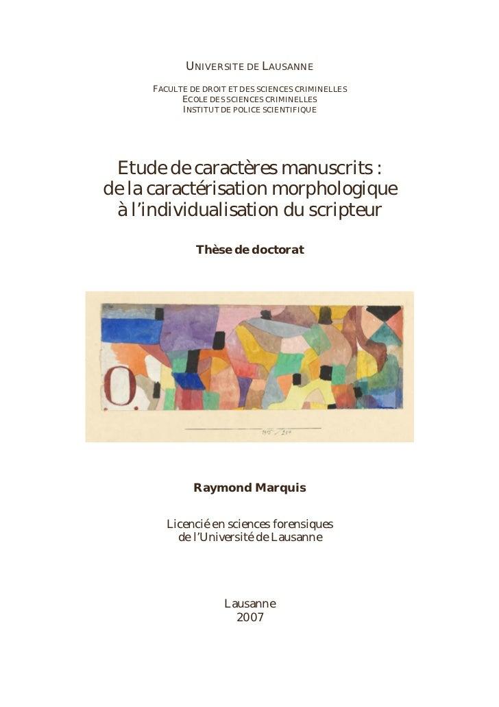 UNIVERSITE DE LAUSANNE     FACULTE DE DROIT ET DES SCIENCES CRIMINELLES           ECOLE DES SCIENCES CRIMINELLES          ...