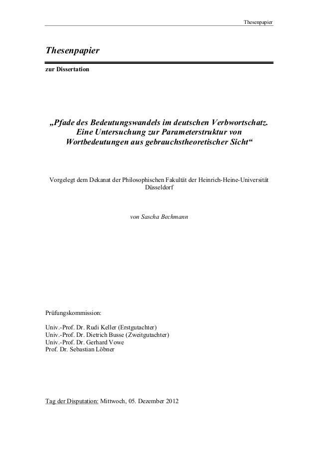 """ThesenpapierThesenpapierzur Dissertation """"Pfade des Bedeutungswandels im deutschen Verbwortschatz.        Eine Untersuchun..."""