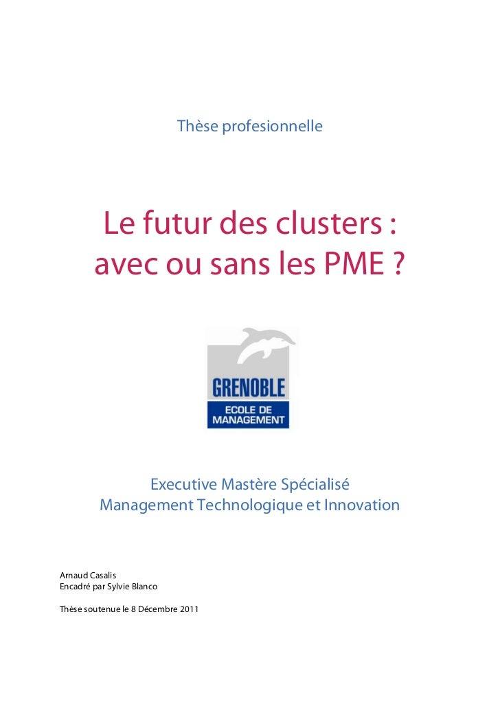 Thèse profesionnelle         Le futur des clusters :        avec ou sans les PME ?               Executive Mastère Spécial...