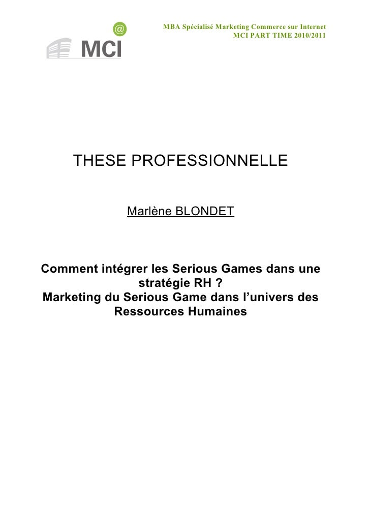MBA Spécialisé Marketing Commerce sur Internet                                      MCI PART TIME 2010/2011     THESE PROF...