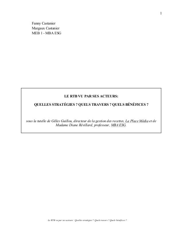 Le RTB vu par ses acteurs : Quelles stratégies ? Quels travers ? Quels bénéfices ? 1 Fanny Castanier Margaux Castanier MEB...