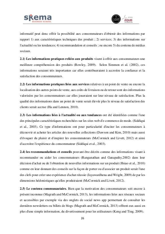 26 informatif peut donc offrir la possibilité aux consommateurs d'obtenir des informations par rapport 1) aux caractéristi...