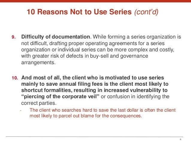 The Series Llc 10 Reasons To Just Say No