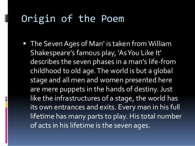 seven ages by william shakespeare One of the most well-known poems of william shakespeare, a great english poet  and playwright, describing the circle of human life shakespeare ingeniously.