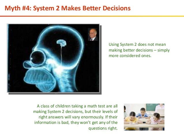 system 1 and 2 thinking System-1 thinking relies heavily on situational cues, salient memories, and heuristic thinking to arrive quickly and confidently at judgments, particularly when situations are familiar and immediate action is required many freeway accidents are avoided because drivers are able to see and react to dangerous situations quickly good decisions emerging from system-1 thinking.