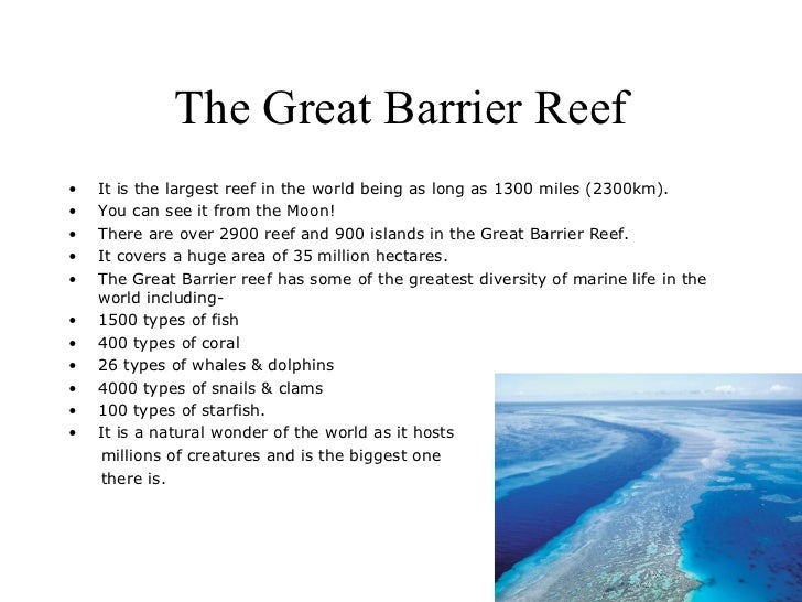 The Great Barrier Reef•   It is the largest reef in the world being as long as 1300 miles (2300km).•   You can see it from...