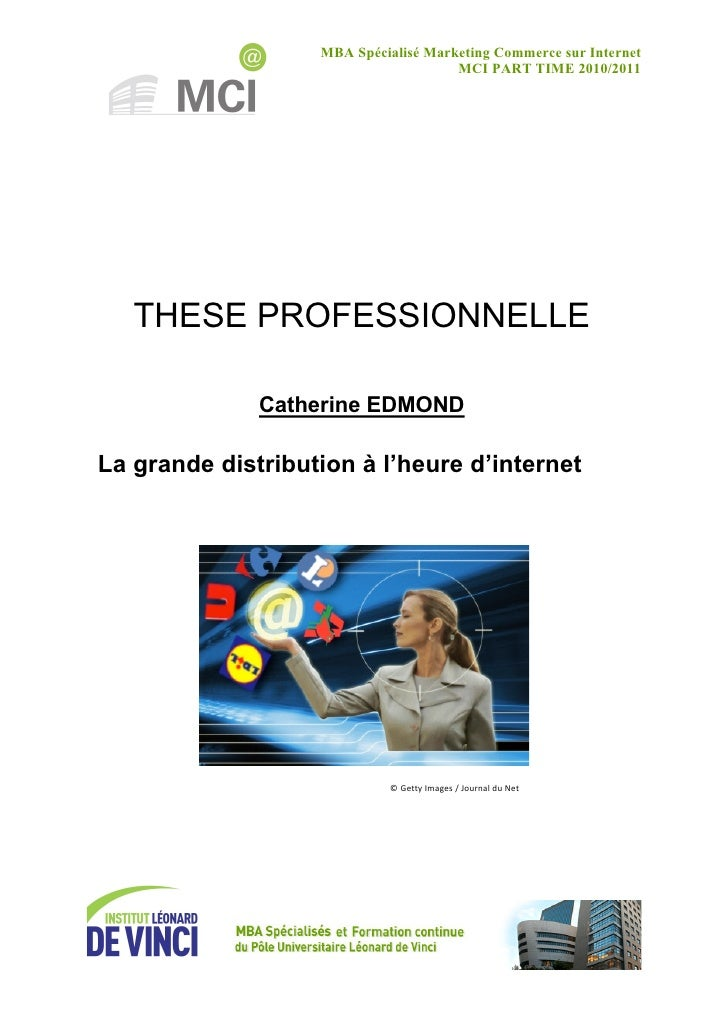 MBA Spécialisé Marketing Commerce sur Internet                                      MCI PART TIME 2010/2011   THESE PROFES...