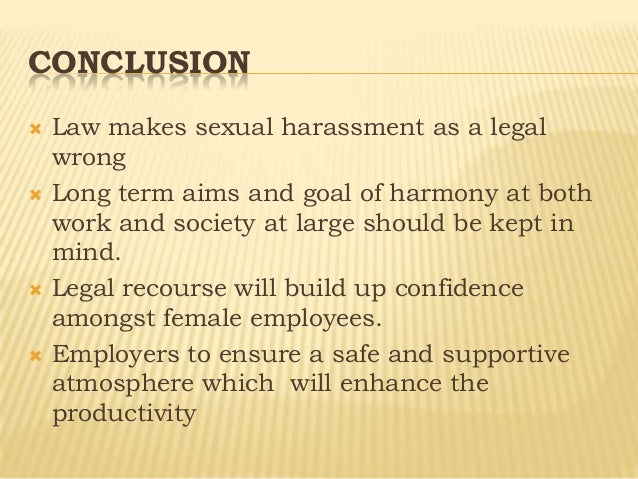 employment law sexual harassment Learn what sexual harassment is employment law discrimination and harassment what is sexual harassment legally speaking, sexual harassment is offensive.