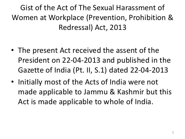 Sexual Harassment At Workplace Act 2013