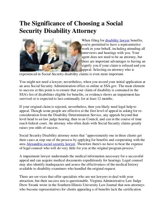 The Significance Of Choosing A Social Security Disability Attorney