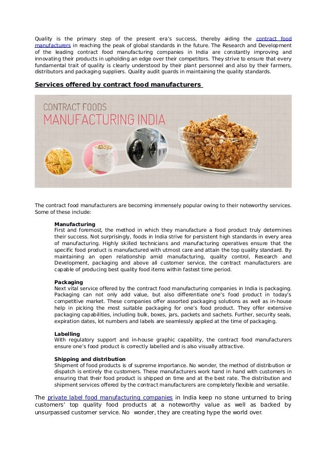 The significance of contract food manufacturing