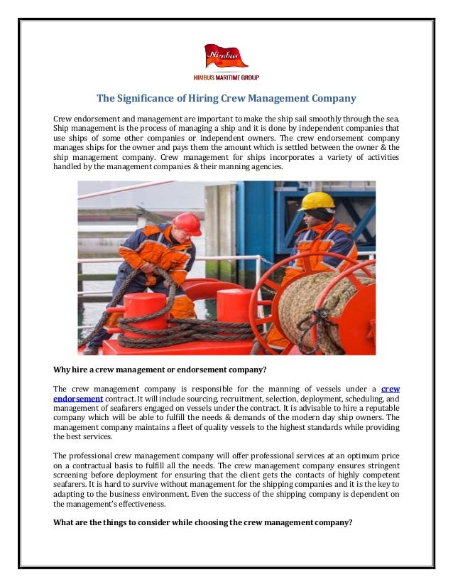 The significance of hiring crew management company