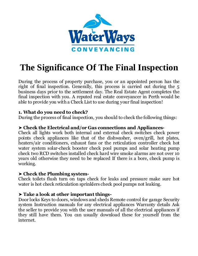 The significance of the final inspection waterways conveyancing the significance of the final inspection during the process of property purchase solutioingenieria Images