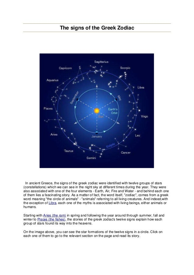 The signs of the Greek Zodiac In ancient Greece, the signs of the greek zodiac were identified with twelve groups of stars...