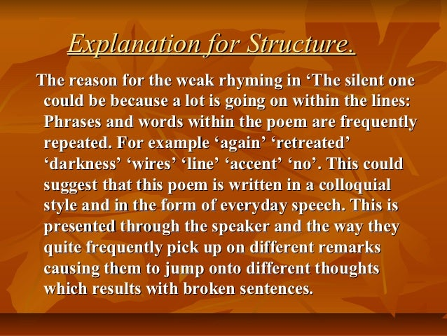 an analysis of the poem the silent one by ivor gurney This allows you to further refine what you are searching for if you know more than one word in the  owen used the word silent to rhyme  ivor gurney david.