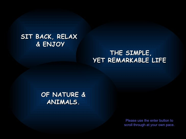 SIT BACK, RELAX  & ENJOY THE SIMPLE, YET REMARKABLE LIFE  OF NATURE & ANIMALS. Please use the enter button to scroll throu...