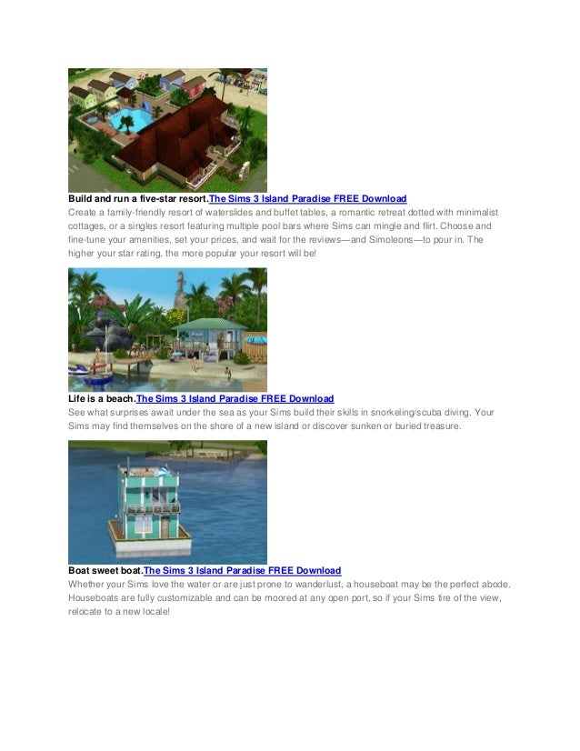 the sims island paradise free download