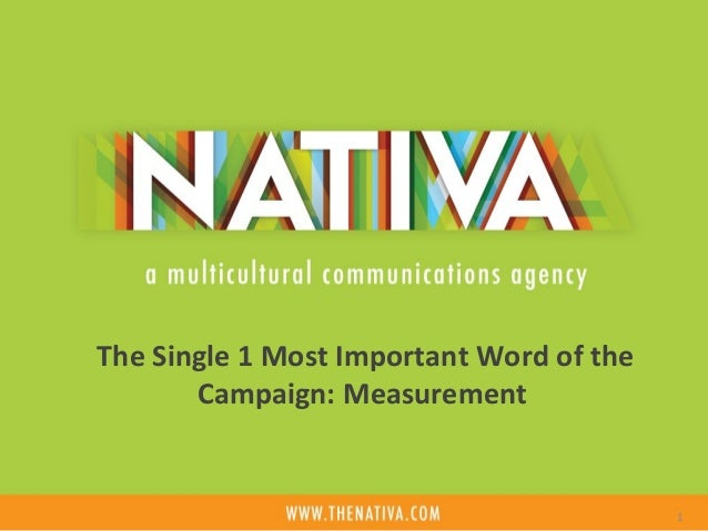The Single 1 Most Important Word of the  Campaign: Measurement  1