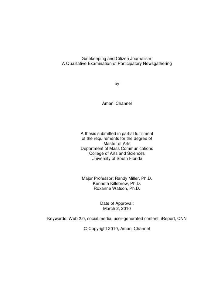 Gatekeeping and Citizen Journalism:        A Qualitative Examination of Participatory Newsgathering                       ...