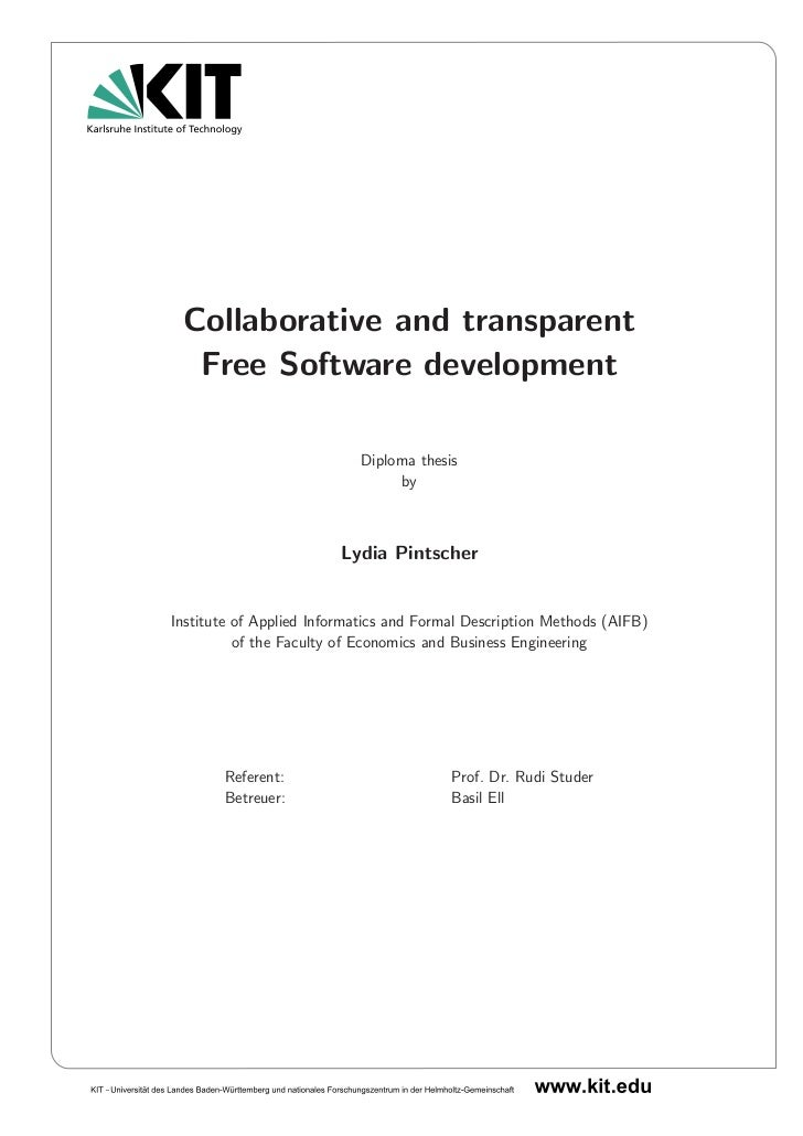 Collaborative and transparent  Free Software development                           Diploma thesis                         ...