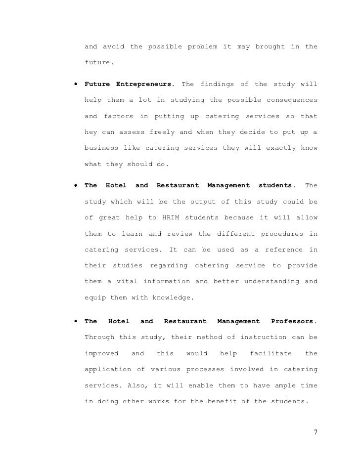Thesis problem about hotel and restaurant management