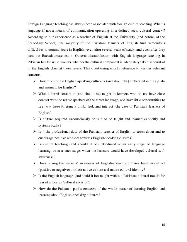 essay about learning english language english as a global language  the role of the culture in the english language learning and teaching 15 16 foreign language