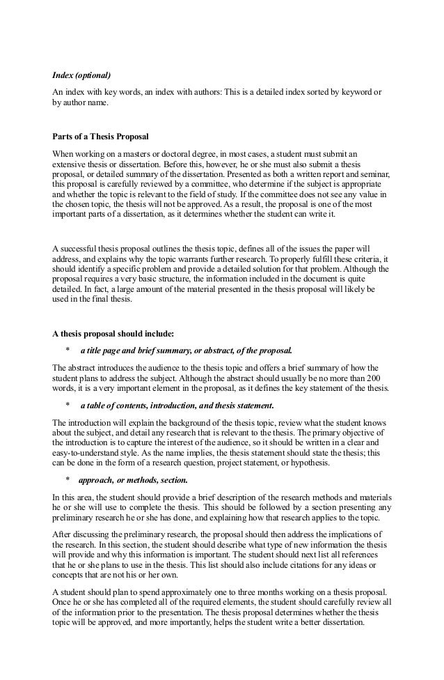 thesis proposal template word