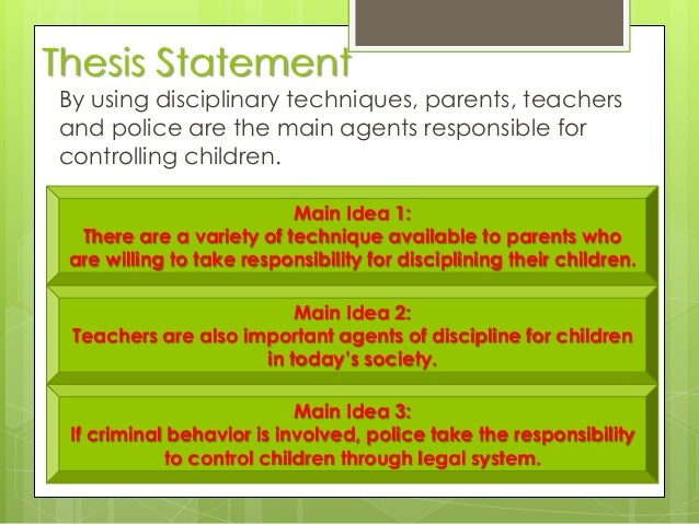 thesis statement on disciplining children Writing a good thesis the central idea, or point, developed in an essay is called a thesis statement  tv preachers disciplining of children thesis a honeymoon .