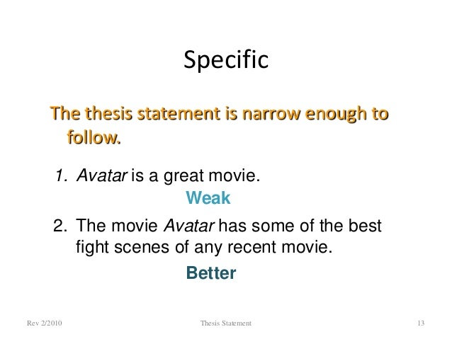 Thesis statement about movies