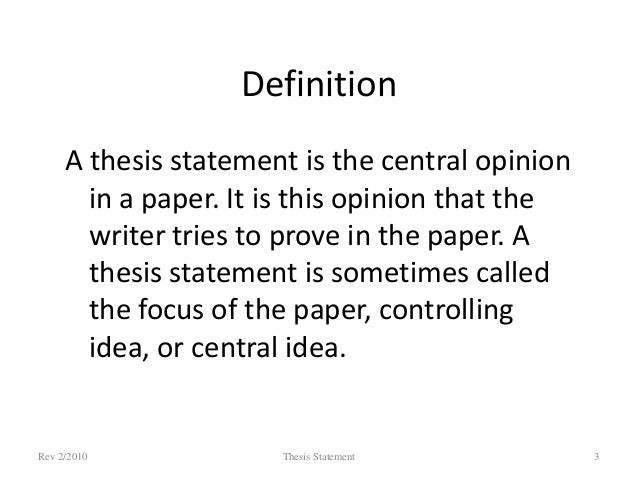 What thesis statement means