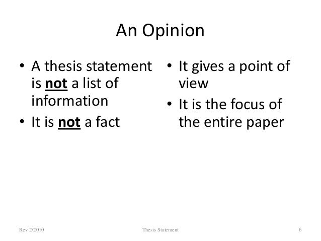 point of view thesis statement
