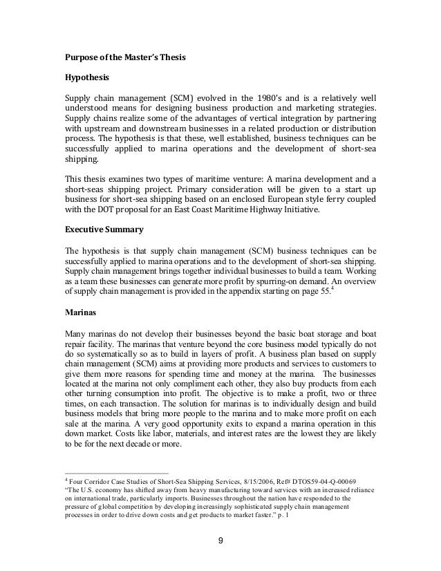 supply chain management master thesis proposal template