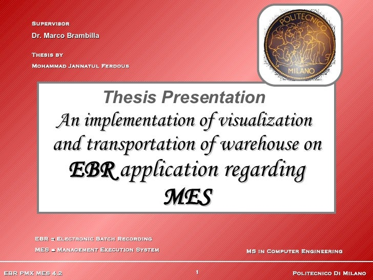 Thesis Presentation   An implementation of visualization   and transportation of warehouse on EBR  application regarding  ...