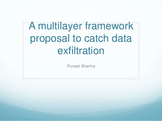 A multilayer frameworkproposal to catch data      exfiltration        Puneet Sharma