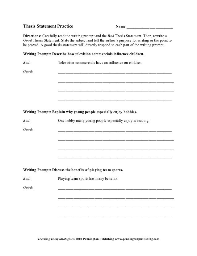 Writing A Literary Thesis Statement Worksheet